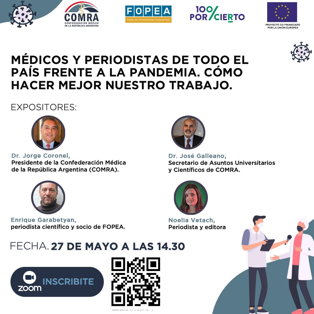 """Encuentro """"Médicos y periodistas de todo el país frente a la pandemia – Cómo hacer mejor nuestro trabajo"""", el jueves 27 de mayo a las 14:30."""